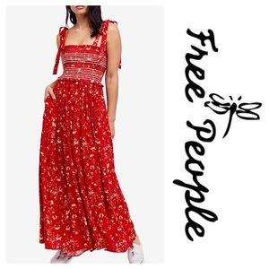 New Free People Color My World Jumpsuit Red Size M